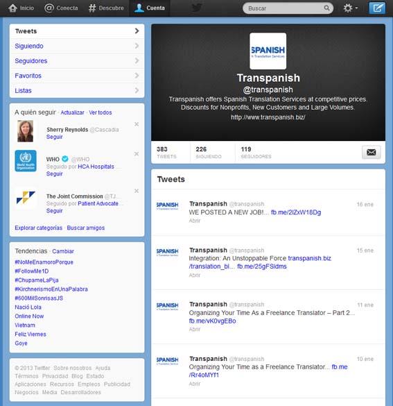 Transpanish en Twitter